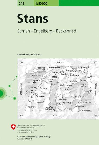 245 Stans topographische Wanderkarte Schweiz 1:50.000
