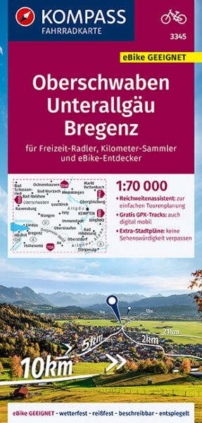 Kompass Radkarte 3345 Oberschwaben, Unterallgäu 1:70.000