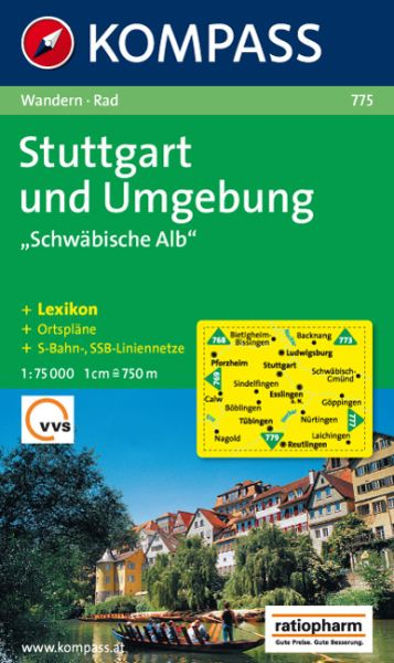 Kompass Karte 775, Stuttgart und Umgebung 1:75.000, Wandern