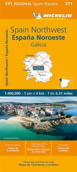 Michelin regional 571 Galicien; Straßenkarte