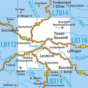 L8114 Titisee Neustadt topographische Karte 1:50.000 Baden-Württemberg, TK50