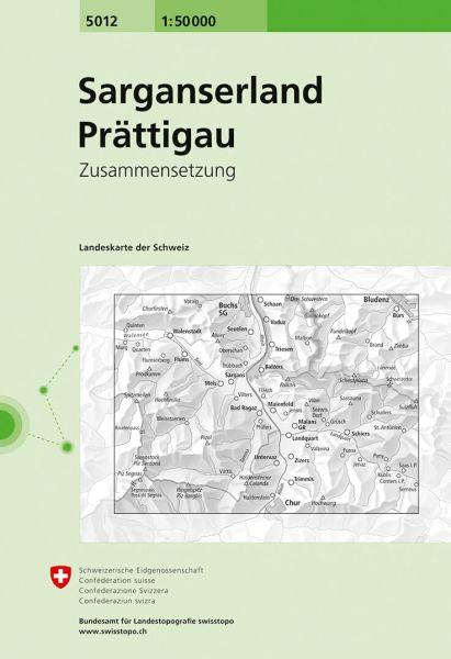 5012 Sarganserland - Prättigau topographische Wanderkarte Schweiz 1:50.000