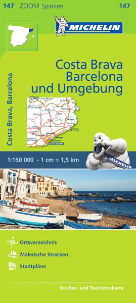 Michelin zoom 147 Costa Brava, Barcelona und Umgebung Straßenkarte 1:150.000