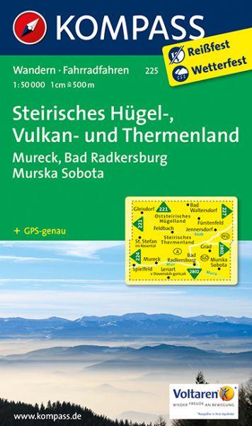 Kompass Karte 225, Steirisches Hügel-, Vulkan-, Thermenland 1:50.000