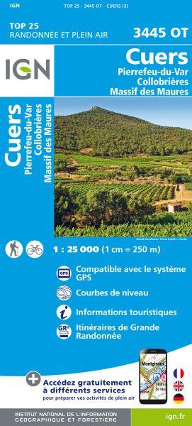 IGN 3445 OT Cuers, Pierrefeu-du-Var, Maures, Frankreich Wanderkarte 1:25.000
