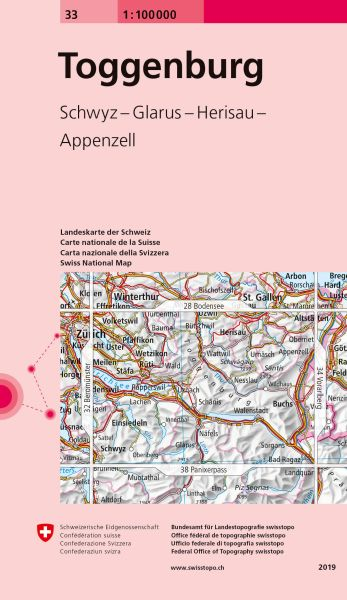 33 Toggenburg topographische Karte Schweiz 1:100.000