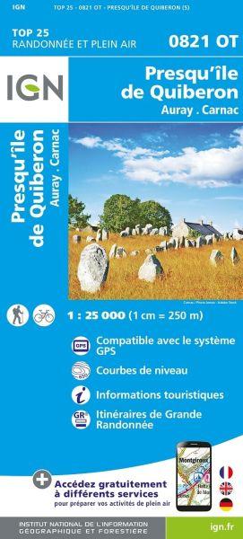 IGN 0821 OT Presqu'ile de Quiberon, Auray, Frankreich Wanderkarte 1:25.000