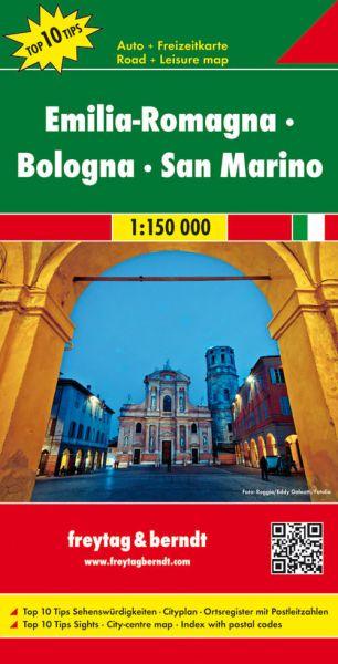 Emilia-Romagna - Bologna Straßenkarte 1:150.000, Freytag und Berndt