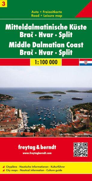 Mitteldalmatinische Küste - Brac, Hvar, Split, Straßenkarte 1:100.000, Freytag und Berndt