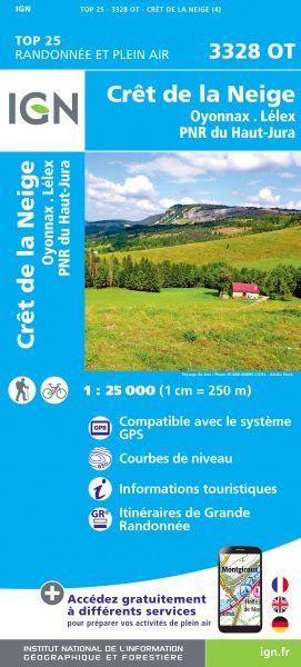 IGN 3328 OT Cret de la Neige, Frankreich Wanderkarte 1:25.000