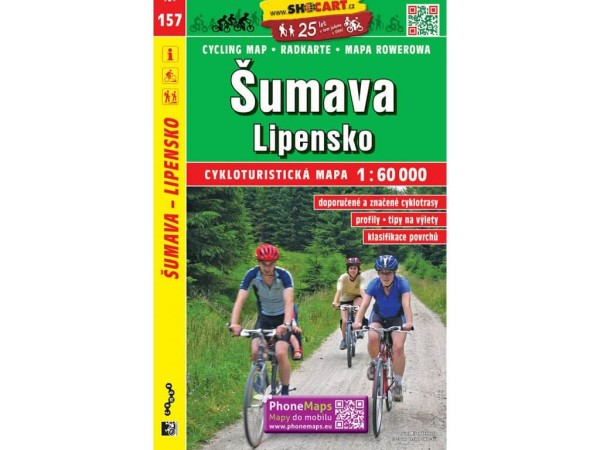 Böhmerwald, Stausee Lipno Radwanderkarte 1:60.000 - SHOCart 157