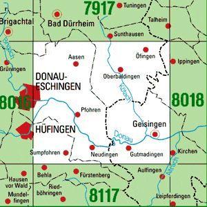 8017 GEISINGEN topographische Karte 1:25.000 Baden-Württemberg, TK25