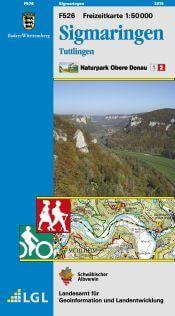 Sigmaringen, Tuttlingen Freizeitkarte in 1:50.000 - F526 mit Rad- und Wanderwegen