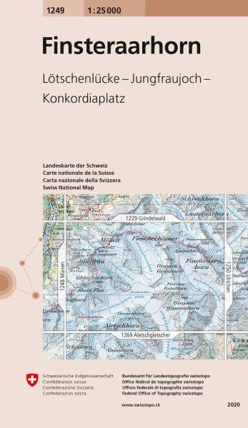 1249 Finsteraarhorn topographische Wanderkarte Schweiz 1:25.000
