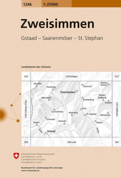 1246 Zweisimmen topographische Wanderkarte Schweiz 1:25.000