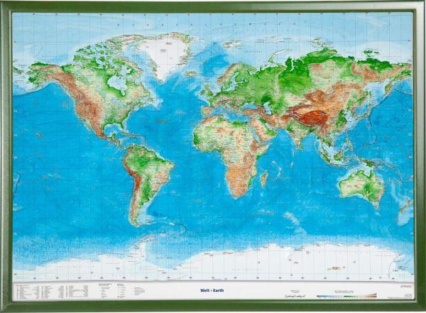 Welt Relief groß mit Holzrahmen – 77 cm x 57 cm