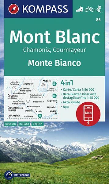 Kompass Karte 85, Mont Blanc 1:50.000, Wandern, Rad fahren