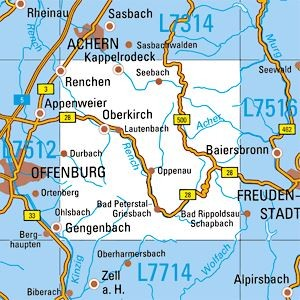 L7514 Oberkirch topographische Karte 1:50.000 Baden-Württemberg, TK50