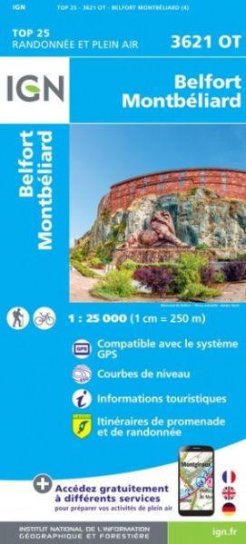 IGN 3621 OT Belfort, Montbéliard, Héricourt, Frankreich Wanderkarte 1:25.000