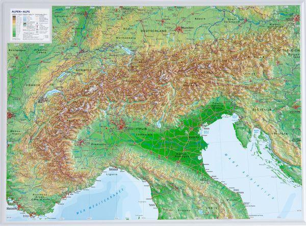 Alpen Relief klein ohne Rahmen – 39 cm x 29 cm