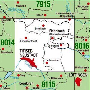 8015 TITISEE-NEUSTADT topographische Karte 1:25.000 Baden-Württemberg, TK25
