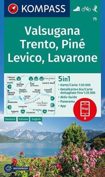 Kompass Karte 75, Valsugana, Trento, Pine 1:50.000, Wandern, Rad fahren
