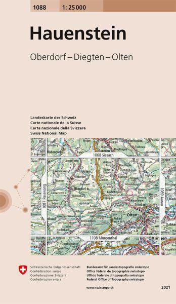 1088 Hauenstein topographische Wanderkarte Schweiz 1:25.000
