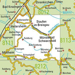 8112 STAUFEN topographische Karte 1:25.000 Baden-Württemberg, TK25