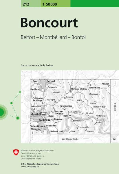 212 Boncourt topographische Wanderkarte Schweiz 1:50.000