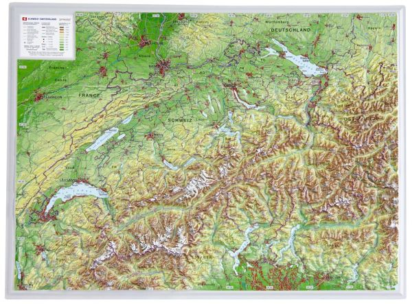 Schweiz Relief klein ohne Rahmen – 39 cm x 29 cm