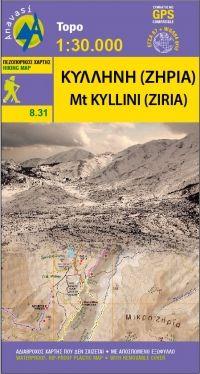 Kyllini, Ziria (Peloponnes) Wanderkarte 1:30.000, Anavasi 8.31, Griechenland, wetterfest