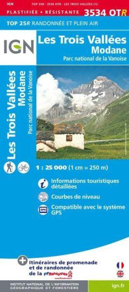 *Schnäppchen* IGN 3534 OTR Les Trois Vallées / Modane PN de La Vanoise wasserfeste Wanderkarte