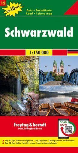 Schwarzwald Autokarte im Maßstab 1:150.000 - Freytag&Berndt Karte 15
