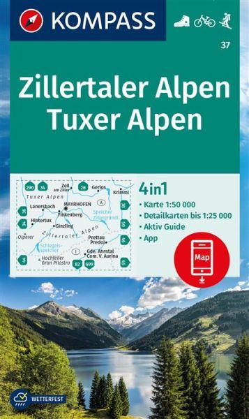 Kompass Karte 37, Zillertaler Alpen 1:50.000, Wandern, Rad fahren