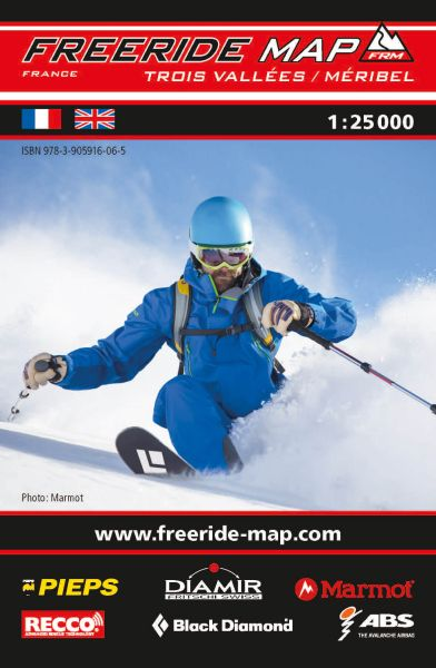 Freeride Map Trois Vallées / Méribel, Skitourenkarte 1:25.000