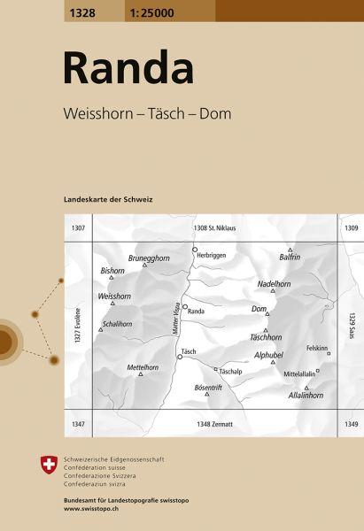 1328 Randa topographische Wanderkarte Schweiz 1:25.000