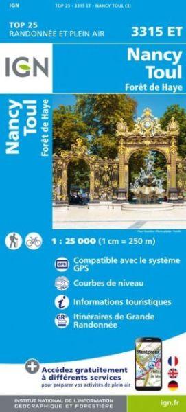 IGN 3315 ET Nancy / Toul / Forêt de Haye, Frankreich Wanderkarte 1:25.000