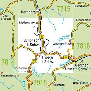 7815 TRIBERG I.SCHW. topographische Karte 1:25.000 Baden-Württemberg, TK25