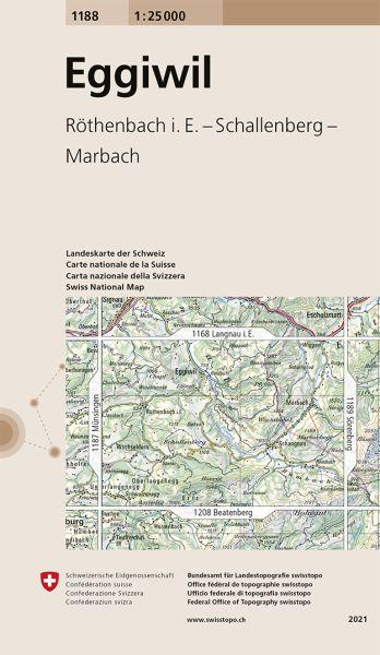 1188 Eggivil topographische Wanderkarte Schweiz 1:25.000