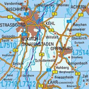 L7512 Offenburg topographische Karte 1:50.000 Baden-Württemberg, TK50