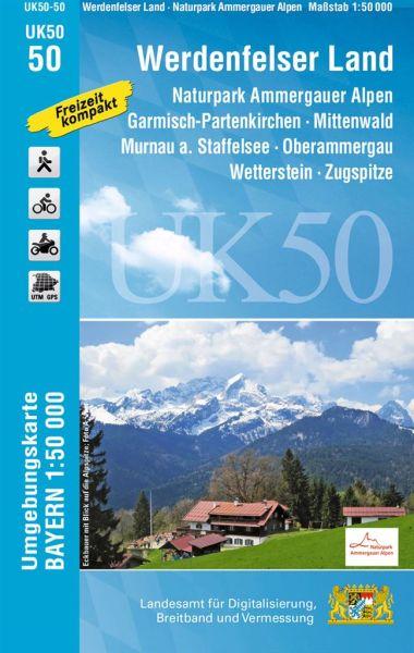 UK50-50 Werdenfelser Land - Ammergauer Alpen Rad- und Wanderkarte 1:50.000 - Umgebungskarte Bayern