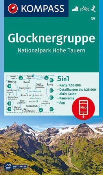 Kompass Karte 39, Glocknergruppe 1:50.000, Wandern, Rad fahren