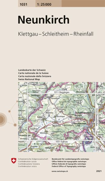 1031 Neunkirch, topographische Wanderkarte Schweiz 1:25.000