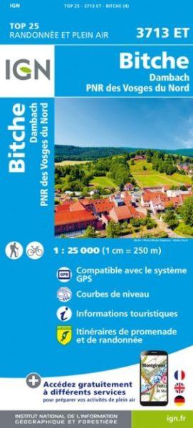IGN 3713 ET Bitche, Dambach, PNR des Vosges Frankreich topographische Wanderkarte 1:25.000