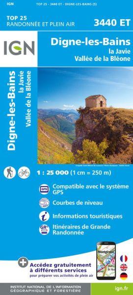 IGN 3440 ET Digne-les-Bains, la Javie, Frankreich Wanderkarte 1:25.000