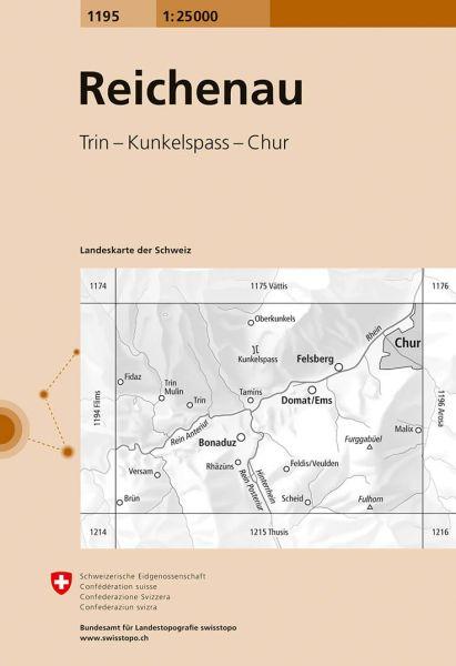 1195 Reichenau topographische Wanderkarte Schweiz 1:25.000