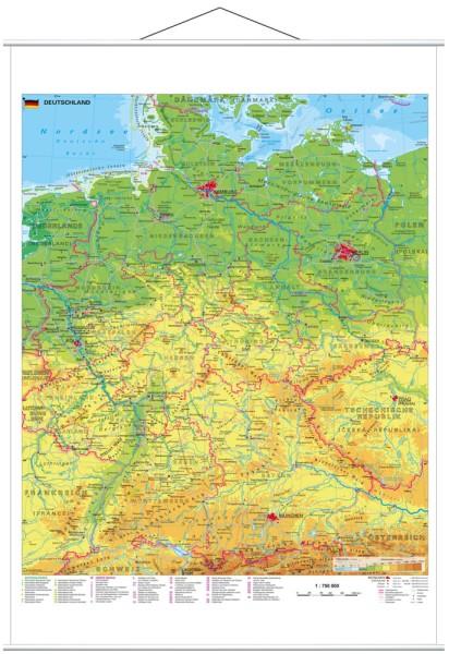 Deutschland physisch großes Poster mit Metallleisten Stiefel Verlag 97x119 cm