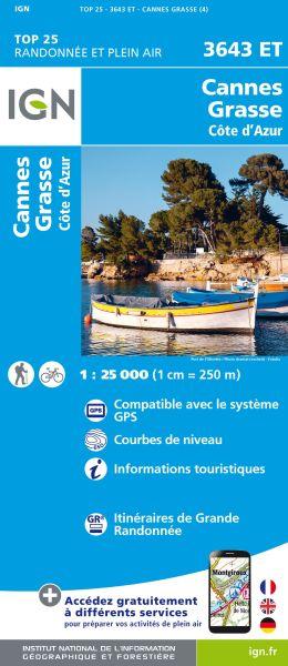 IGN 3643 ET Cannes, Grasse, Cote d'Azur, Frankreich Wanderkarte 1:25.000