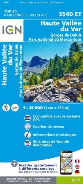 IGN 3540 ET Haute Vallee du Var, Frankreich Wanderkarte 1:25.000
