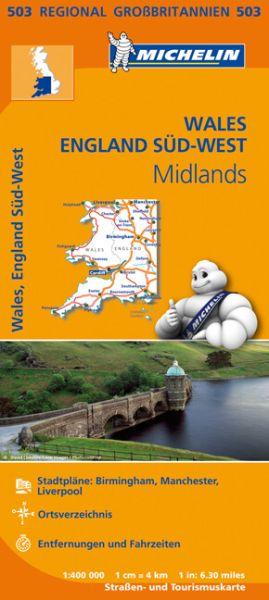 Michelin 503 Wales, England Süd-West, Midlands Straßenkarte